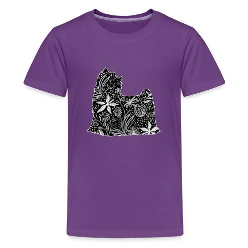 Flower Yorkie - Teinien premium t-paita