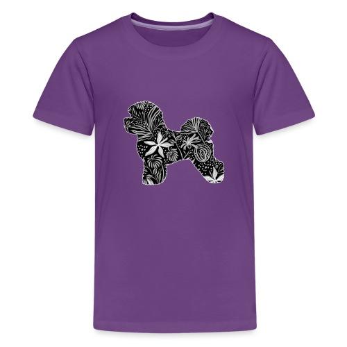 Flower Bichon Frise - Teinien premium t-paita