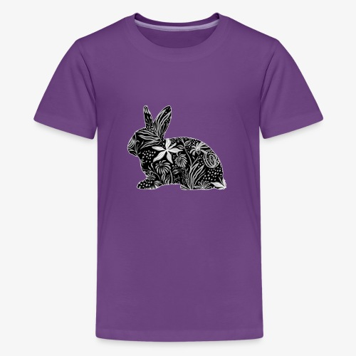 Flower Rabbit - Teinien premium t-paita