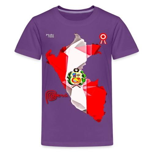 Mapa del Peru, Bandera y Escarapela - T-shirt Premium Ado