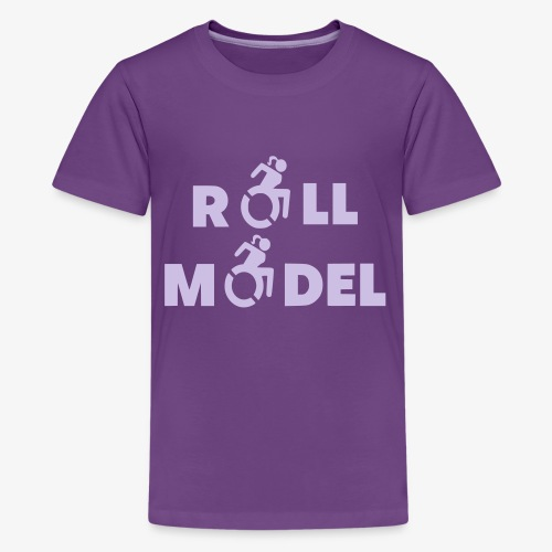 Dame in rolstoel is ook een roll model - Teenager Premium T-shirt