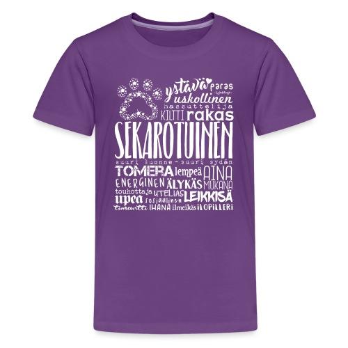 Sekarotuinen Sanat V 2 - Teinien premium t-paita