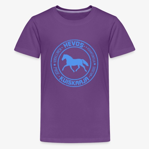 Hevoskuiskaaja Sininen - Teinien premium t-paita