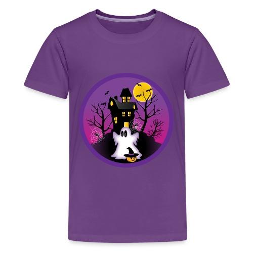 Spooky Halloween Ghost - Teenage Premium T-Shirt