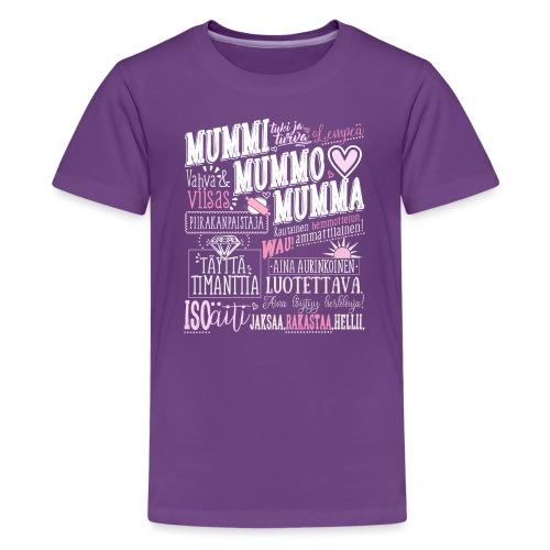 Mummo Piirakanpaistaja - Teinien premium t-paita