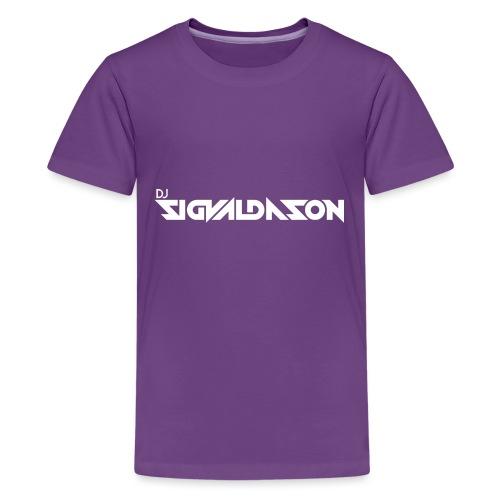DJ logo hvid - Teenager premium T-shirt