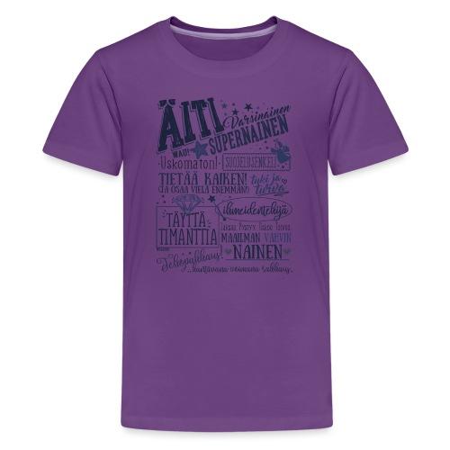 ÄITI Sininen - Teinien premium t-paita