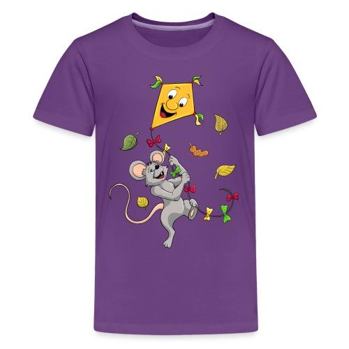 Maus mit Drachen im Herbst - Teenager Premium T-Shirt