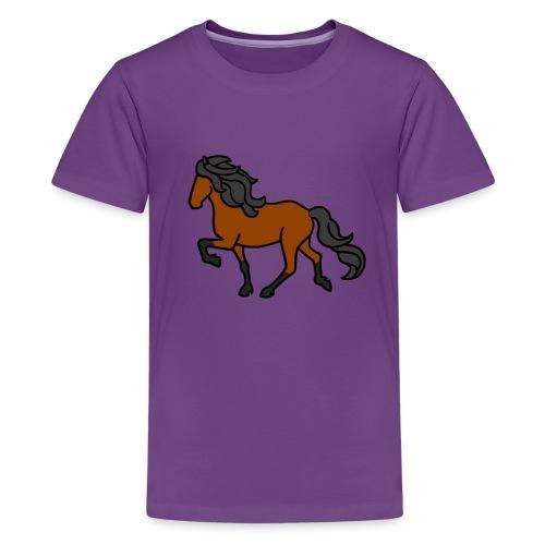 Islandpferd, Brauner, heller - Teenager Premium T-Shirt