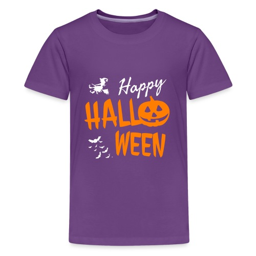 Happy Halloween Kostüm Kürbis Hexe Fledermäuse - Teenager Premium T-Shirt