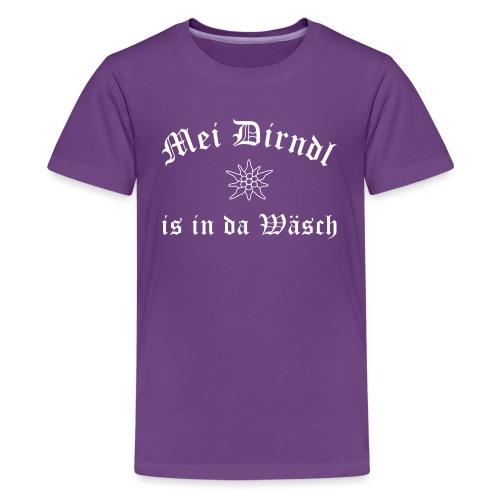Mei Dirndl is in da Wäsch mit Edelweiß - Teenager Premium T-Shirt