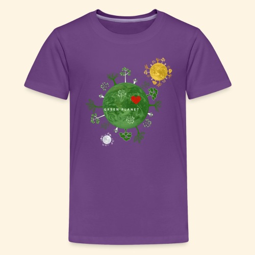 Trees on Green Planet with Sun Moon - Teenager Premium T-shirt
