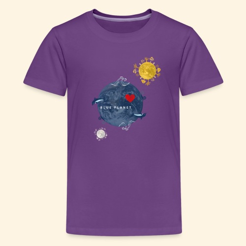 Blue Planet with Sun and Moon - Teenager Premium T-shirt