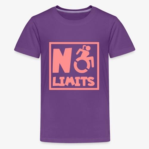 Geen grenzen voor deze dame in rolstoel - Teenager Premium T-shirt