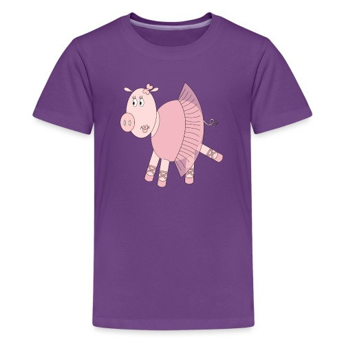 Ballerina Pig - Teenage Premium T-Shirt