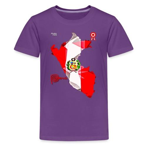 Mapa del Perú, Bandera y Escarapela - Camiseta premium adolescente