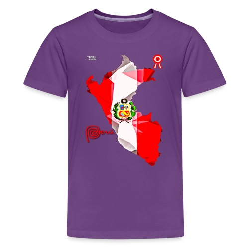 Mapa del Peru, Bandera y Escarapela - Teenage Premium T-Shirt