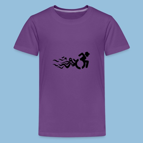 Wheelchair with flames 013 - Teenager Premium T-shirt