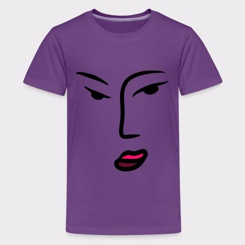 Frau Line Art Abstrakte Kunst - Teenager Premium T-Shirt