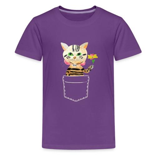 Katze bringt Blume als Geschenk und Glückwünsche - Teenager Premium T-Shirt