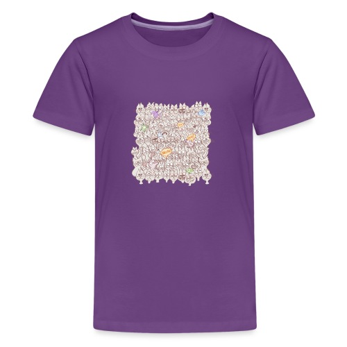 Funny cats posing in a meowing pattern - Teenage Premium T-Shirt