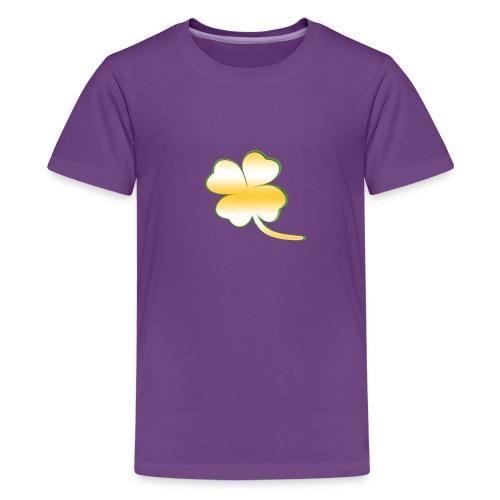 Kleeblatt Glück gold - Teenager Premium T-Shirt