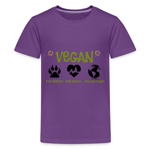 Vegan for animals, health and the environment. - Teenage Premium T-Shirt