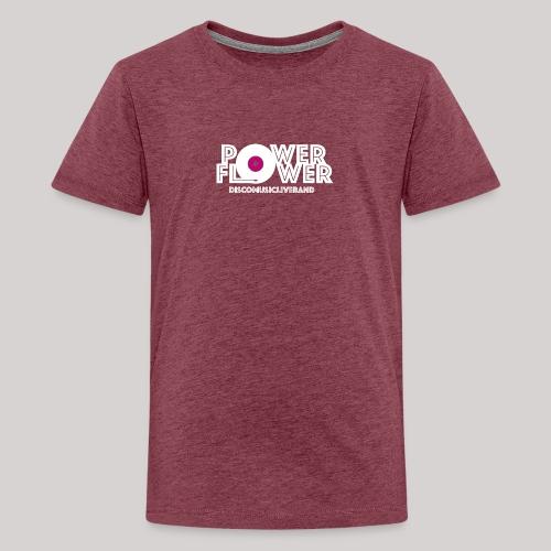 Logo PowerFlower bianco e fuxia - Maglietta Premium per ragazzi