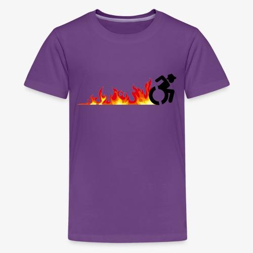 Snelle rolstoel gebruiker, vuur banden, roller 002 - Teenager Premium T-shirt