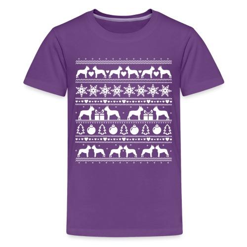 Boston Terrier Joulu - Teinien premium t-paita