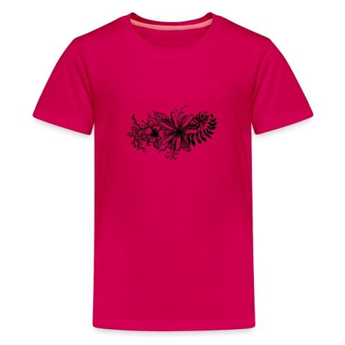 Black Flower Artwork - Teenage Premium T-Shirt