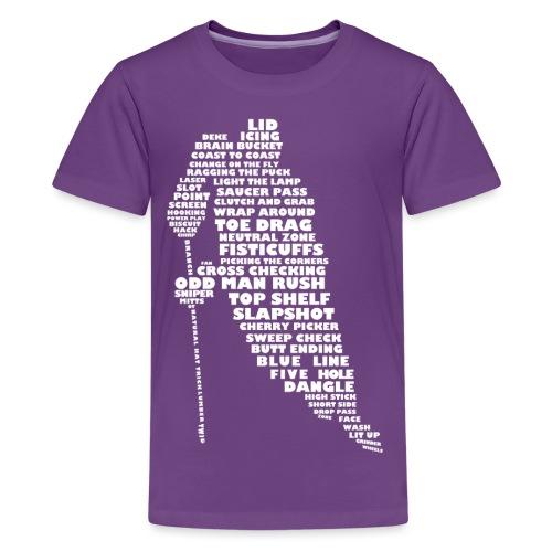 Language of Hockey (White) - Teenage Premium T-Shirt