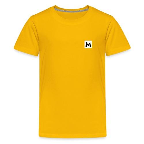 stor logo hvid - Teenager premium T-shirt