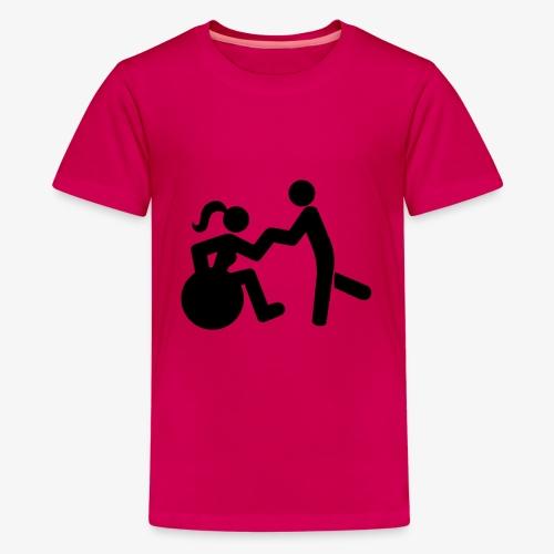Afbeelding van vrouw in rolstoel die danst met man - Teenager Premium T-shirt