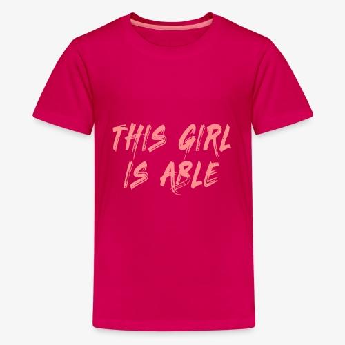 > Dit meisje is in staat, rolstoel, handicap 001 - Teenager Premium T-shirt