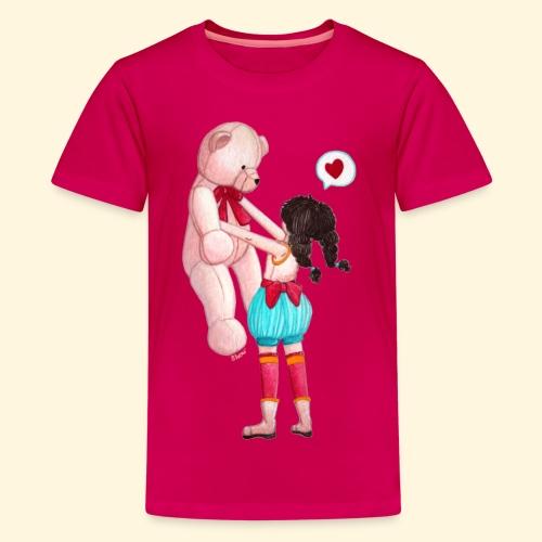 Fille au Nounours géant - T-shirt Premium Ado