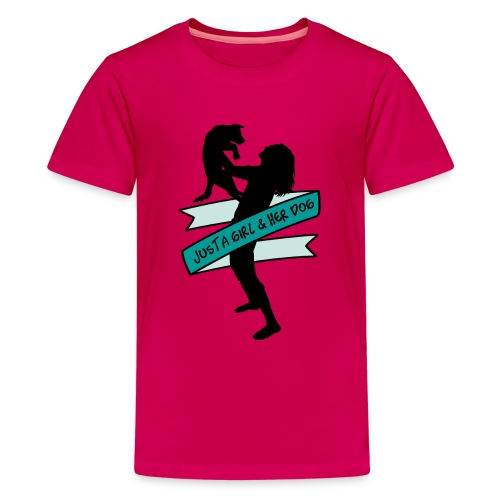A Girl & Her Dog - Frauchen Mädchen Hund Geschenk - Teenager Premium T-Shirt