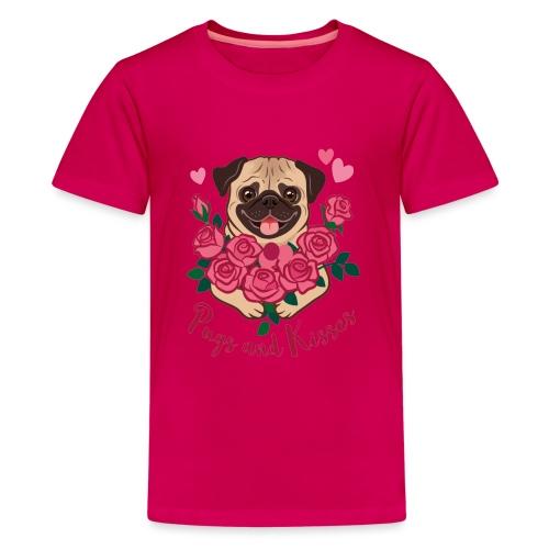 Mops und Küsse | Pugs and kisses - Teenager Premium T-Shirt