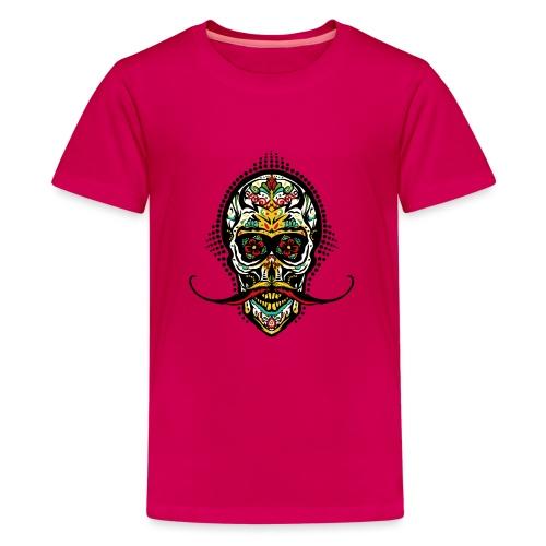 tete de mort mexicaine crane hipster skull moustac - T-shirt Premium Ado