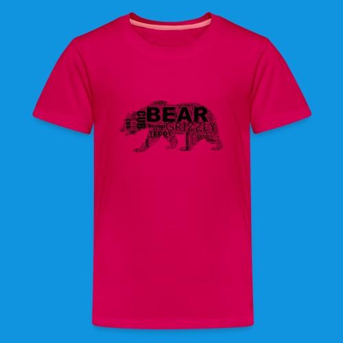 Bear Word Cloud black text - Teenage Premium T-Shirt