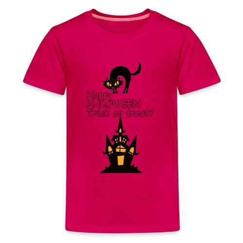 CAT LOVE CHAT AMOUR HALOWEEN - T-shirt Premium Ado