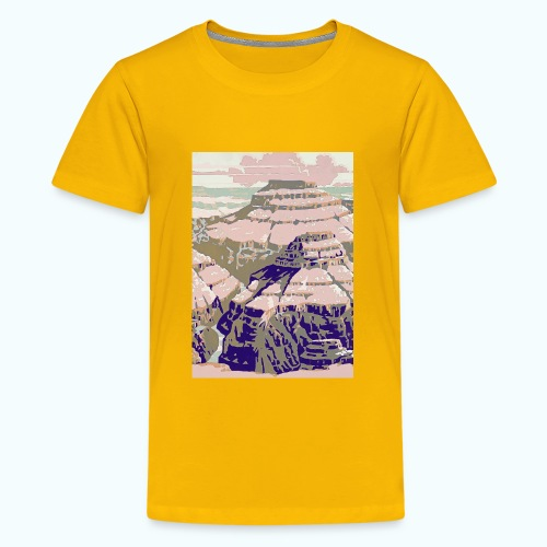 Rocky Mountains Vintage Travel Poster - Teenage Premium T-Shirt