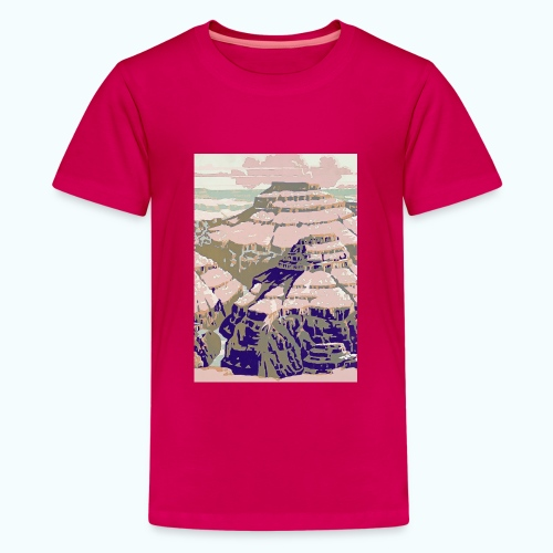 Rocky Mountains Vintage Travel Poster - Teenage Premium T-Shirt