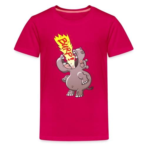 Hippopotamus Burping Loudly - Teenage Premium T-Shirt