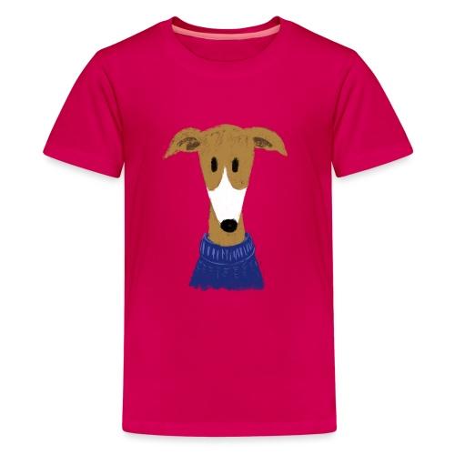 Windhund in blauem Pulli - Teenager Premium T-Shirt