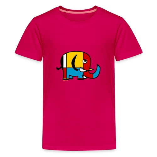 Mondrian Elephant - Teenage Premium T-Shirt