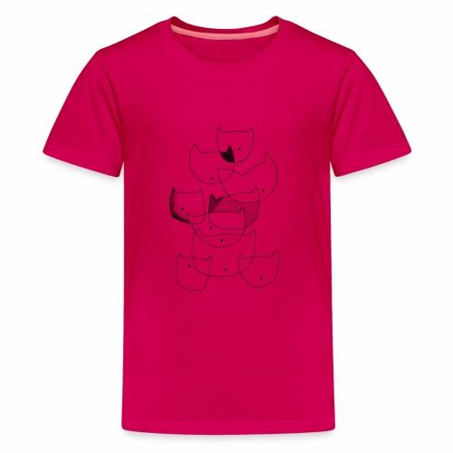 cats black line - katten zwarte lijn - Teenager Premium T-shirt