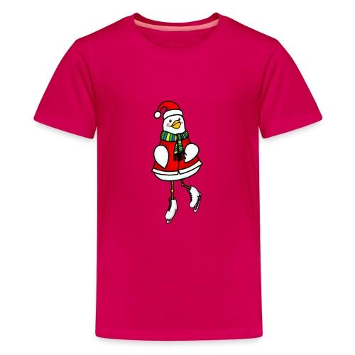 Xmas ice skating chick - Teenage Premium T-Shirt