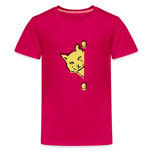 En gul katt - Premium-T-shirt tonåring