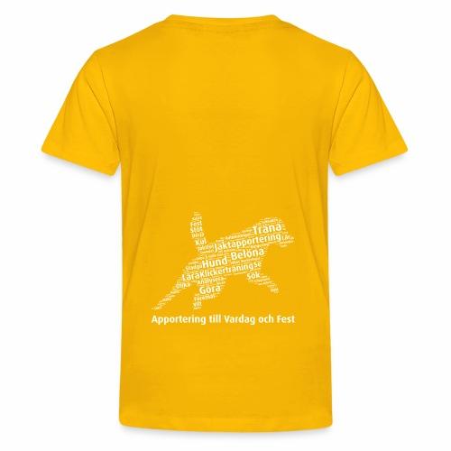 Apportering till vardag och fest wordcloud vitt - Premium-T-shirt tonåring